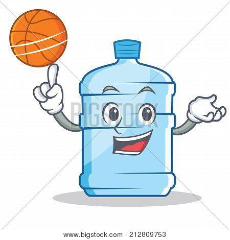 With basketball gallon character cartoon style vector illustration