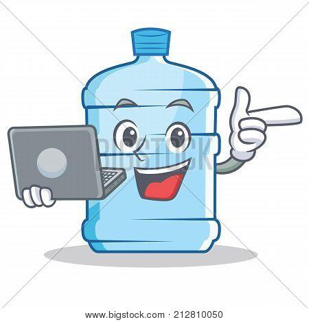 With laptop gallon character cartoon style vector illustration