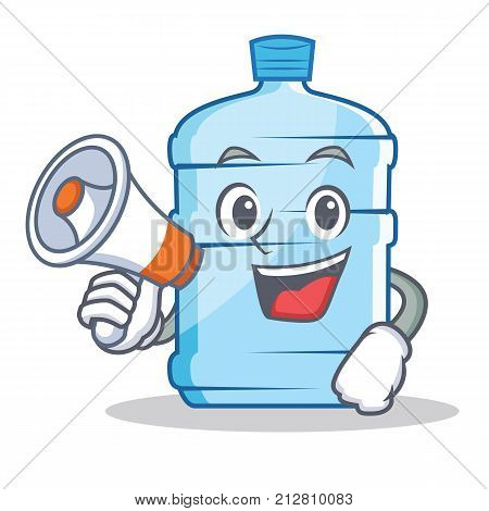 With megaphone gallon character cartoon style vector illustration