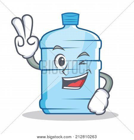 Two finger gallon character cartoon style vector illustration