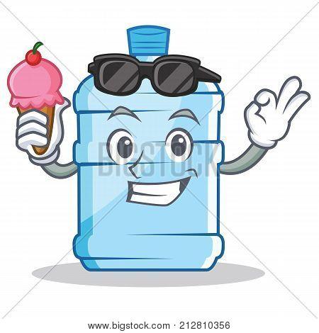 With ice cream gallon character cartoon style vector illustration