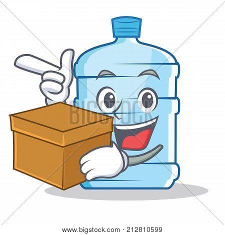 With box gallon character cartoon style vector illustration