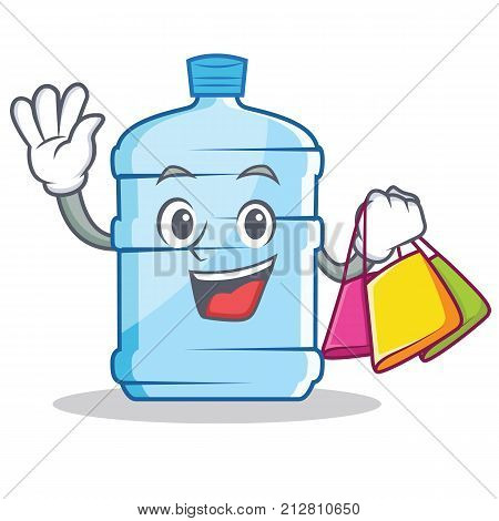 Shopping gallon character cartoon style vector illustration