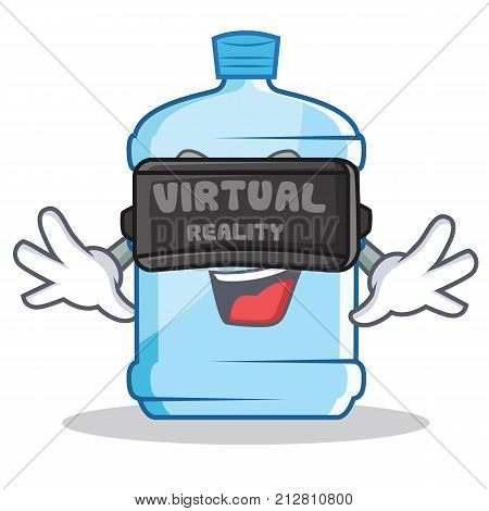 With virtual reality gallon character cartoon style vector illustration