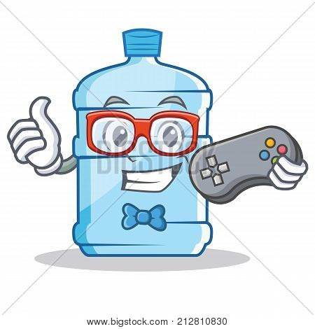 Gamer gallon character cartoon style vector illustration