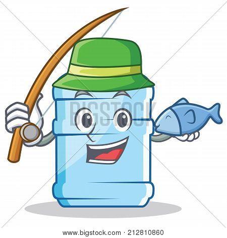 Fishing gallon character cartoon style vector illustration