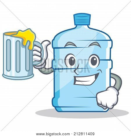 With juice gallon character cartoon style vector illustration