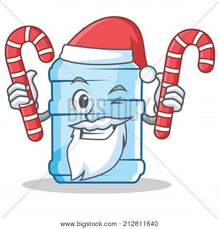 Santa with candy gallon character cartoon style vector illustration