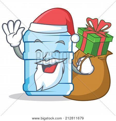 Santa with gift gallon character cartoon style vector illustration