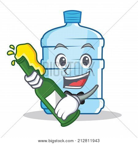 With beer gallon character cartoon style vector illustration