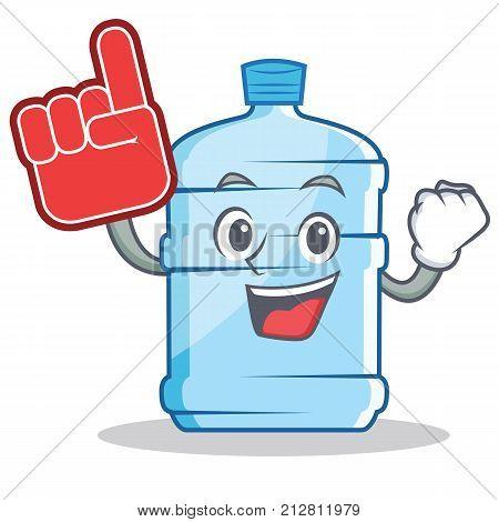 Foam finger gallon character cartoon style vector illustration