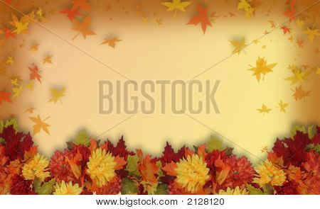 Fall Leaves Wreath For Card Or Background