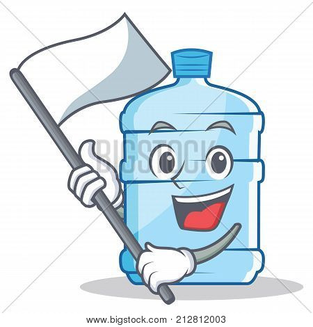 With flag gallon character cartoon style vector illustration