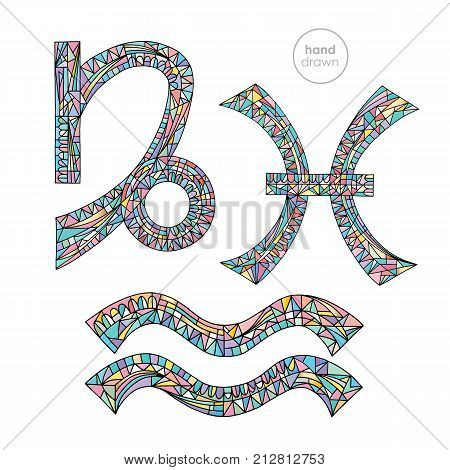 Zodiac signs set Capricorn Aquarius Pisces. Horoscope pastel colors collection. Hand drawn magic symbols. Astrological series vector illustration.