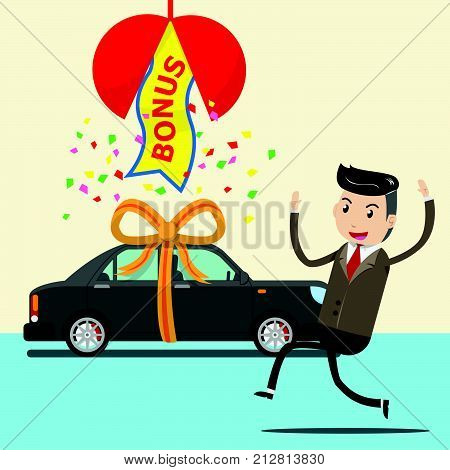 happy employee receive new car as surprise bonus or gift from boss, company. businessman or seller who success in selling , good works and making high sales. bonus concept. vector illustration EPS10