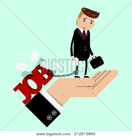 tried businessman in suit work with paperwork in hand , chained to the leg with his job. business man stand on boss hand with sad face. overworking , office syndrome and work like slave concept