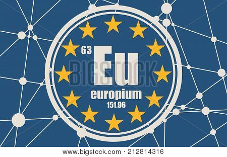 Europium chemical element. Sign with atomic number and atomic weight. Chemical element of periodic table. Flag of the European Union. Connected lines with dots.