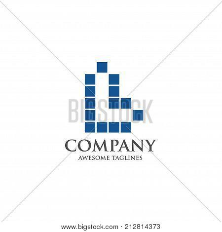 Best letter L logo square concept, Letter L vector logo symbol in square with shattered blocks, Vector template for your design