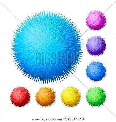 Vector set of fur pompons. Eps8. RGB. Global colors