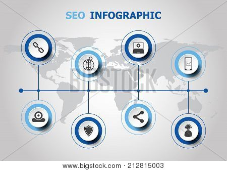 Infographic design with SEO icons, stock vector