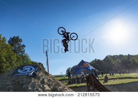 Kalnica, Slovakia - May 27 2017: Unknown Extreme Rider Performs Courageous Trick In Slopestyle Compe