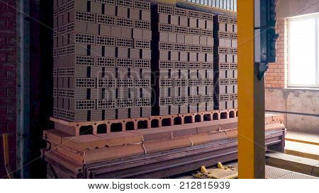 Plant For The Production Of Bricks. Plant For Production Building Material With Ready Brick, Constru