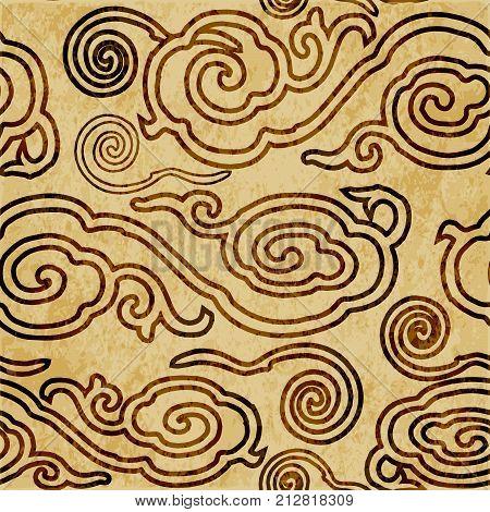 Retro Brown Watercolor Texture Grunge Seamless Background Oriental Chinese Spiral Round Cloud