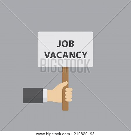 Hand holding job vacancy sign. Hiring and recruiting concept. People hand holding a placard