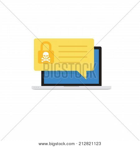 Laptop with malware notification. Network vulnerability detection concept. Notebook with white skull and padlock icon notification on screen