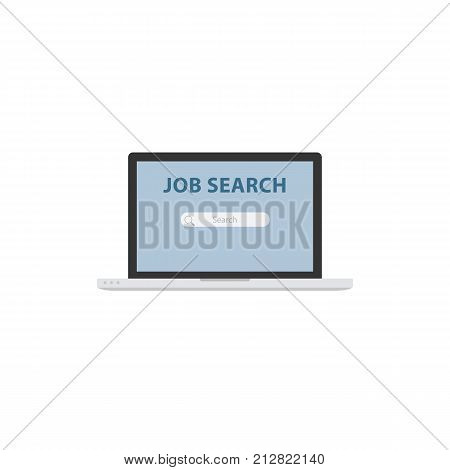 Online job search illustration. Job search page on laptop screen