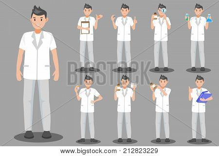 cute cartoon pharmacist on the gray background