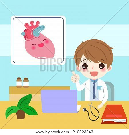 cute cartoon doctor with hert on blue background
