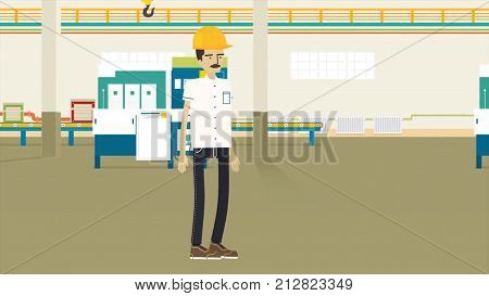 Man on the production animation. a man with a mustache and helmet work on the production animation. Energetic man happened on the work animation. It puts on a helmet of protection HD