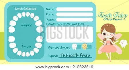 cute cartoon tooth fairy official report on yellow background