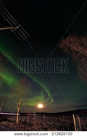 Moon And The Northern Lights