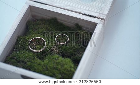 wedding rings in a wooden box filled with moss on the green grass. Wedding. Wedding ring. Vintage engagement ring with a precious stone lies in a wooden box with moss. The box stands on the old wooden table. engagement rings in wooden box