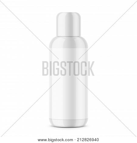 White glossy plastic cosmetic bottle with blank label. 200 ml. Cosmo round style. Suitable for lotion, body milk, shampoo etc. Photorealistic packaging mockup template. Vector illustration.