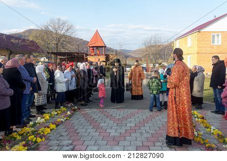 Adygea Russia - November 8 2017: parishioners of the Orthodox Church greeted Archbishop
