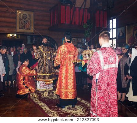 Adygea Russia - November 8 2017: festive Liturgy in the Orthodox Church with the participation of Archbishop
