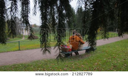 Love Couple On Bench. Couple Sitting In The Park View From The Branches Of A Tree. Young Couple Sitt