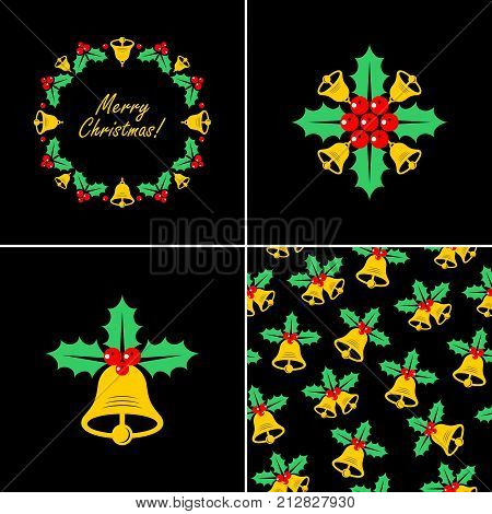 Christmas bell with Holly. Christmas bell icons.Seamless christmas pattern with bell and Holly. Vector illustration