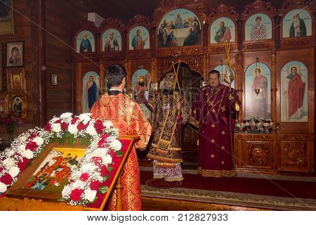 Adygea Russia - November 8 2017: the divine Liturgy in the Orthodox Church with the participation of Archbishop