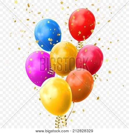 Colorful Balloons Golden Stars Confetti Vector Birthday Party Festival Icon