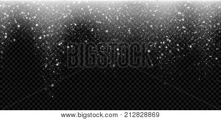 Snow Falling Glittering Snwoflake Light Winter Glitter Particles Christmas Sparkling Vector Backgrou