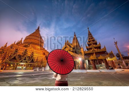 The Shwezigon Pagoda, the famous chedi in Bagan; the city that has more than 4 thousand stupas. It also one of 5 greatest holy places in Myanmar
