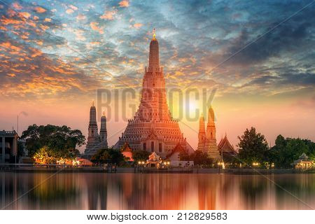 Wat Arun Temple at sunset in bangkok Thailand. Wat Arun is among the best known of Thailand's landmarks