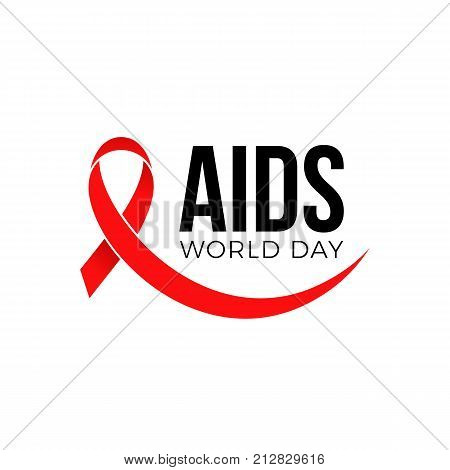 World Aids Day Red Ribbon 1 December Awareness Solidarity Logo Vector Symbol