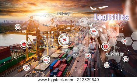 World map with logistic network distribution on background. Logistic and transport concept in front Logistics Industrial Container Cargo freight ship for Concept of fast or instant shipping Online goods orders worldwide