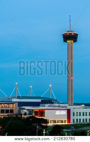 San Antonio, TX AUGUST 1, 2017 - Henry B. Gonzales Convention Center, Tower of the Americas and The Alamo Dome seen from The Hilton Hotel. Tower of the Americas and The Alamo Dome are the most recognizable landmarks of San Antonio