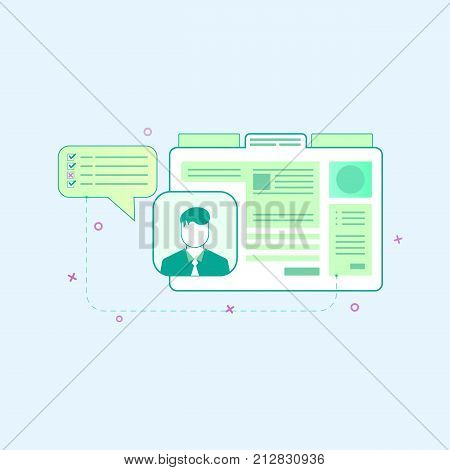 Vector illustration in flat outline style. Graphic design concept of web page design and user interface development. Personal photo block User interface and User Experience.